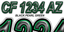 BLACK GREEN Boat Registration Numbers or PWC Decals Stickers Graphics Hull Id