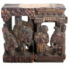 China 19. Jh. Holz  -A Chinese Lacquered & Gilt Wood Carving Cinese Chinois Qing