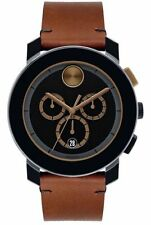 New Movado Swiss Chronograph Bold Cognac Leather Strap 44mm Men's Watch 3600348