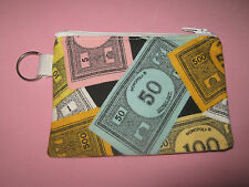 MONOPOLY MONEY-Coin Purse w/ Key Ring-Handmade