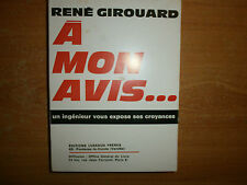 à mon avis de René Girouard en 1968 avec envoi de l auteur