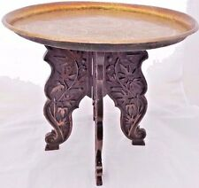 Antique Arts and Crafts Carved Wooden Tray Stand with Indian Brass Tray c 1900