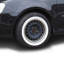 """4X 13"""" WHITE WALL TYRE TRIMS + STAINLESS STEEL RIM RINGS VW BMW FORD VAUXHALL"""