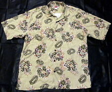 Hilo Hattie Silk Hawaiian Large Mens Ukulele Lei Green Shirt hibiscus