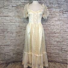 VTG 70s Gunne Sax Womens Cream Lace Satin Bardot Off Shoulder Boho Midi Dress 9