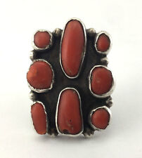 VINTAGE Mark Chee - Navajo Coral and Silver Ring, c. 1940, Size 5.75