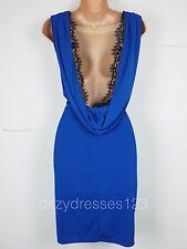 BNWT Definitions Cobalt & Black Lace Cowl Back Pencil Dress Size 18 RRP £49