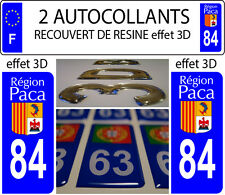 2 stickers plaque immatriculation auto TUNING DOMING 3D RESINE REGION PACA N° 84