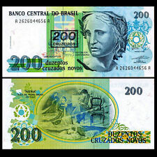 Brazil Note :- 200 Cruzados Novos 1990 Banknote Currency UNC   #204