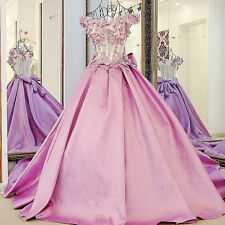 Handmade Flower Beaded Train Quinceanera Dresses Prom Party Pageant Gown Wedding