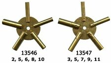 2pc Brass Universial Clock Key For Winding Clocks 5 Prong ODD & EVEN Numbers Set