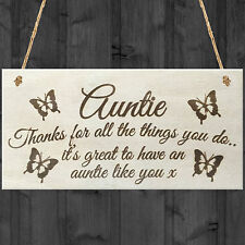 Auntie Things You Do Wooden Hanging Plaque Sign Love Gift Aunt Present Thank You