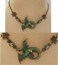 Green & Gold Dragon Strand Necklace Jewelry Handmade NEW adjustable Accessories
