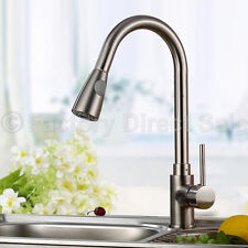 "16"" Pull-Out Brushed Nickel Kitchen Sink Faucet Spray Swivel One Handle New"