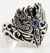 CELTIC DRAGON .925 STERLING SILVER MEN BAND RING Sz 7.5 NEW BLUE SAPPHIRE GOTHIC