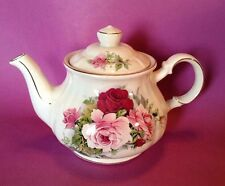 Sadler Teapot - White With Red And Pink Roses And Gilding - Made In England