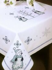 """Tobin Stamped Cross Stitch Embroidery Tablecloth BLUE SNOWMAN 58"""" ROUND"""
