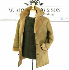 Men's Brown REAL SHEEPSKIN LEATHER Shearling 70s MOD BOHO Indie Chunky Coat M