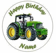 Tractor Personalised Edible Icing Cake Topper Round 7.5in PreCut +12 CakeToppers
