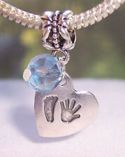 Hand Print Footprint Heart March Birthstone Baby Dangle Bead for Charm Bracelets