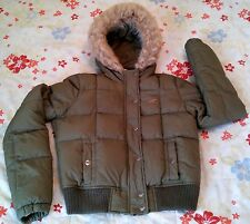 Hollister Surf Co Women's Quilted Jacket Coat with Hoodie Size Medium Army Green
