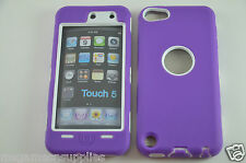 Purple Hybrid Plastic &Gel ULTRA Protective Armor Case Screen Guard iPod Touch 5