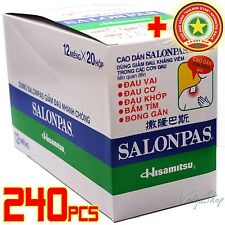 Lot 240 Patches - Hisamitsu SALONPAS - Muscle Pain Relieving - New In Box + GIFT
