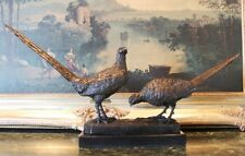 Pheasant Grouse Game Bird Hunter Bronze Marble Statue Wildlife Trophy Gift Art