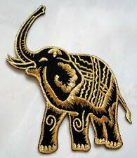 Thailand Siam War Golden Black Elephant Embroidered Iron on Patch Free Postage