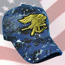 U.S. NAVY SEAL CAP HAT BLUE DIGITAL CAMO.GOLD EMBROIDERED EMBLEM NEW WITH TAGS