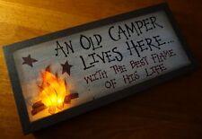 CAMPER LIVES HERE Flicker Flame Light Campfire Cabin Camping Lodge Decor Sign