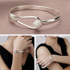 Hot Women Fashion 925 Sterling Silver Plated Charm Cute Flower Bracelet Bangle