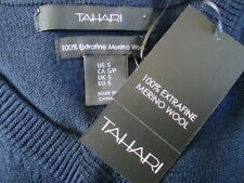 NWT TAHARI 100% Extra Fine Wool V-Neck Fitted Men's Blue Sweater Cardigan Sz S