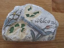 """Garden Themed Stepping Stone Decor -  """"Welcome"""" Dragon Fly"""