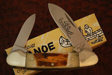 1980'S FROST CUTLERY SECOND CUT BONE STAG CANOE KNIFE  w/INDIAN ETCH NICE (95)