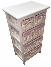 Shabby Chic Storage Cabinet Unit 5Drawer Wicker Baskets White with Pink Linen