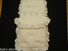 BEAUTIFUL. PRAM  COSYTOES  / FOOTMUFF  COLOUR  WHITE  WITH  BOWS