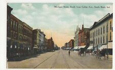 USA, Michigan Street, South from Colfax Avenue, South Bend Ind. Postcard, B080