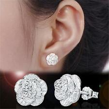 1pair Women Cherry Flower Carved Silver Ear Stud Earring Fashion Jewelry Gift