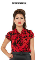 Voodoo Vixen Red Women Rockabilly Retro Vintage 50s Pinup Top Shirt TP1729