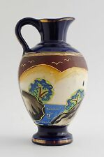 Beautiful Painted Ornate Japanese Vase with Raised Garden / Water Design.
