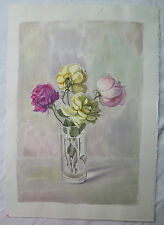 ACQUERELLO ANTICO DIPINTO QUADRO FIORI NATURA MORTA Antique watercolor painting