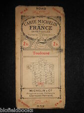 Early french michelin carte routière de toulouse c1920 (feuille/carte de la france)