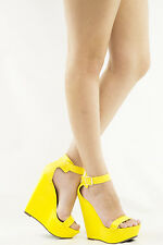 YELLOW OPEN TOE ANKLE STRAP HIGH HEEL PLATFORM WEDGE WOMEN PUMP SANDAL SHOE SZ 8