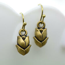 Tulip Flower Earrings, Antique Bronze Finish, Vintage Style Charm Pendant Earrin