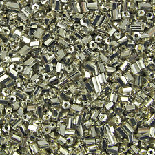 1KG 2 Cut Hexagon Shaped Silver Metallic Coloured Glass Beads Size 11/0 2mm