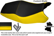 BLACK & YELLOW CUSTOM FITS DUCATI ST2 ST4 DUAL REAL LEATHER SEAT COVER