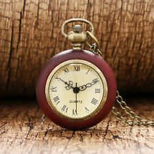 Retro Red Wooden Design Roman Numerals Women Pocket Watch Necklace Pendant Gift
