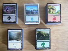 NEW MtG Magic 500 Basic Land Cards 100 each Island Plains Swamp Mountain Forest