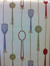 Kitchen Utensils Expanded Vinyl Wallpaper White/Red/Brown 51118410 P&P COMBINED